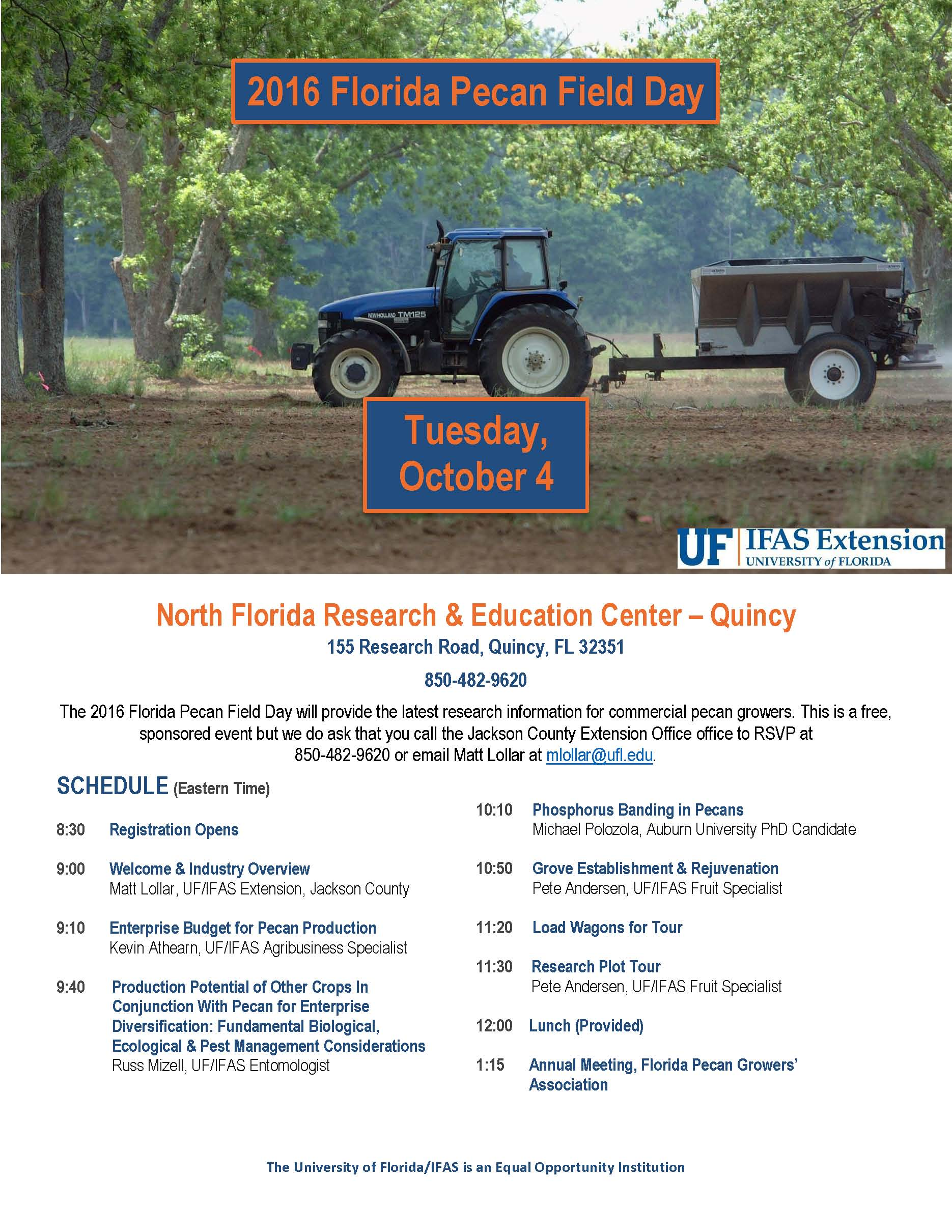 Pecan Field Day Oct. 4th in Quincy ……